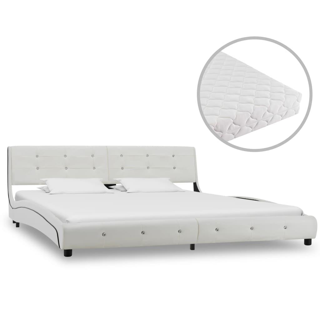 vidaXL Κρεβάτι Λευκό 180 x 200 εκ. από Συνθετικό Δέρμα με Στρώμα