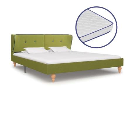 vidaXL Bed met traagschuim matras stof groen 180x200 cm
