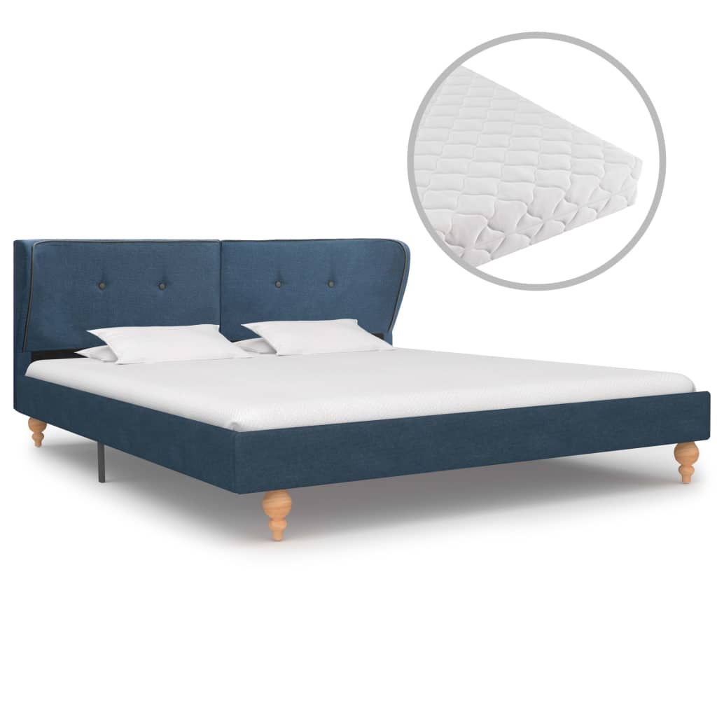 vidaXL Κρεβάτι Μπλε 160 x 200 εκ. Υφασμάτινο με Στρώμα