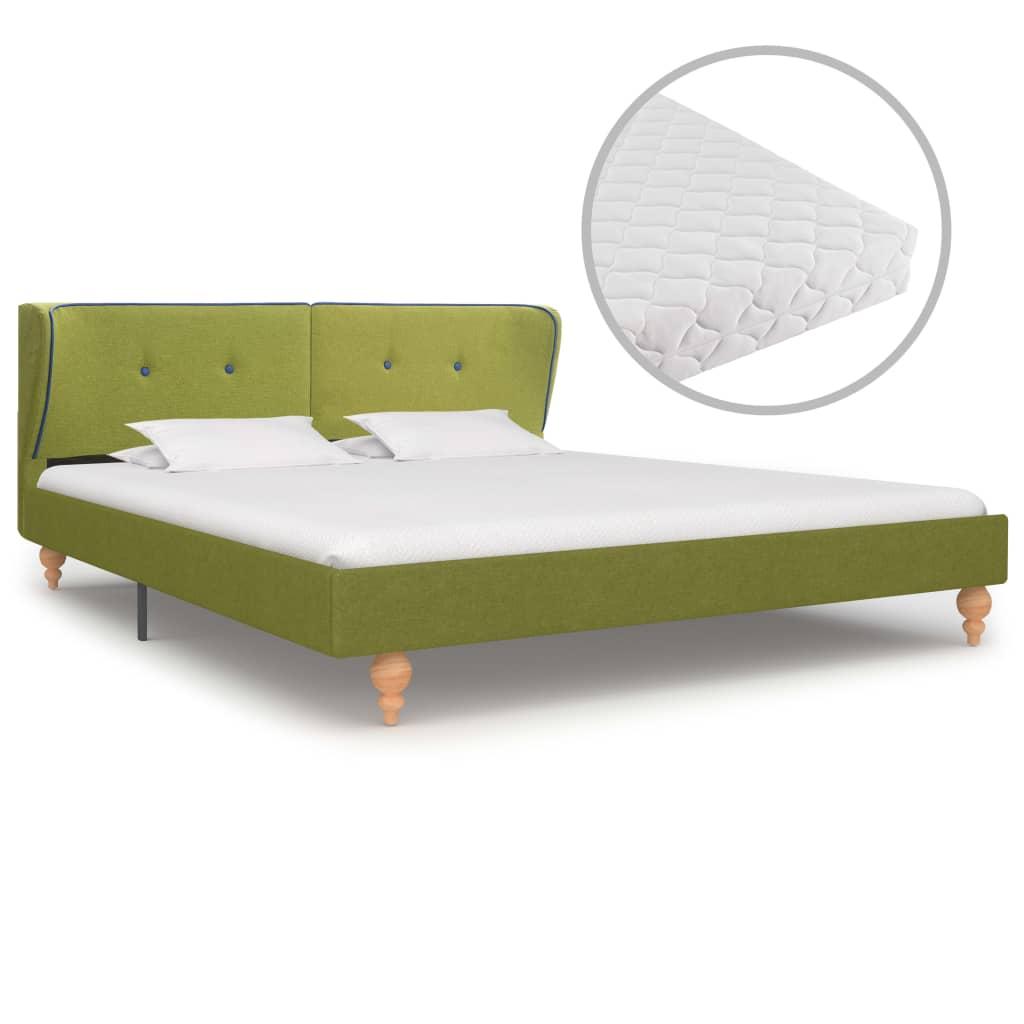 vidaXL Bed met matras stof groen 160x200 cm