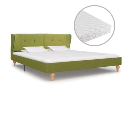 vidaXL Bed met matras stof groen 180x200 cm