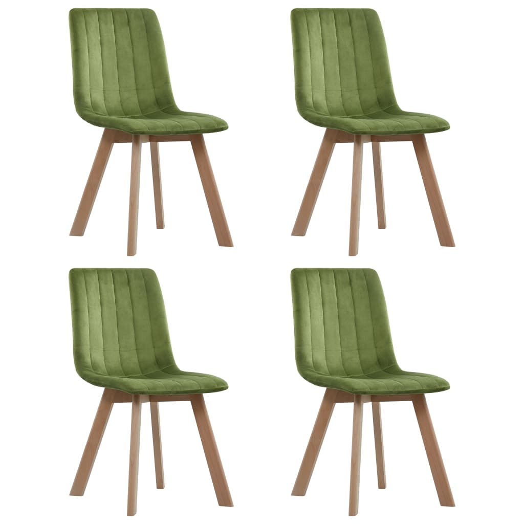 vidaXL Καρέκλες Τραπεζαρίας 4 τεμ. Πράσινες Βελούδινες
