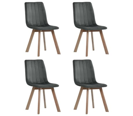 vidaXL Dining Chairs 4 pcs Grey Velvet