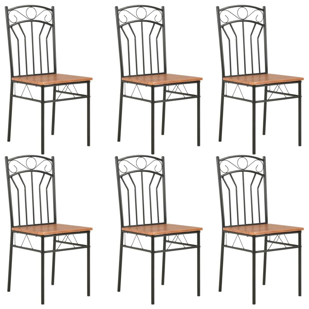 vidaXL Καρέκλες Τραπεζαρίας 6 τεμ. Καφέ από MDF