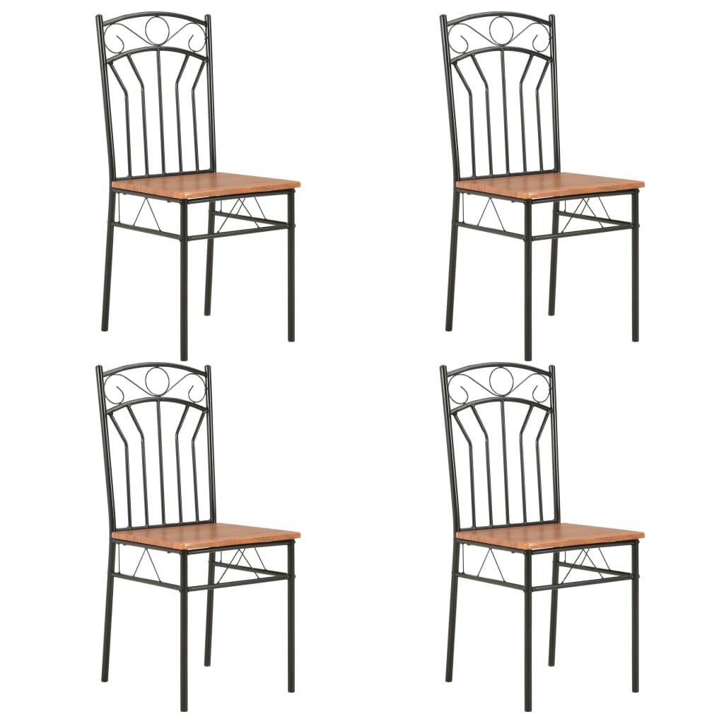 vidaXL Jídelní židle 4 ks hnědé MDF