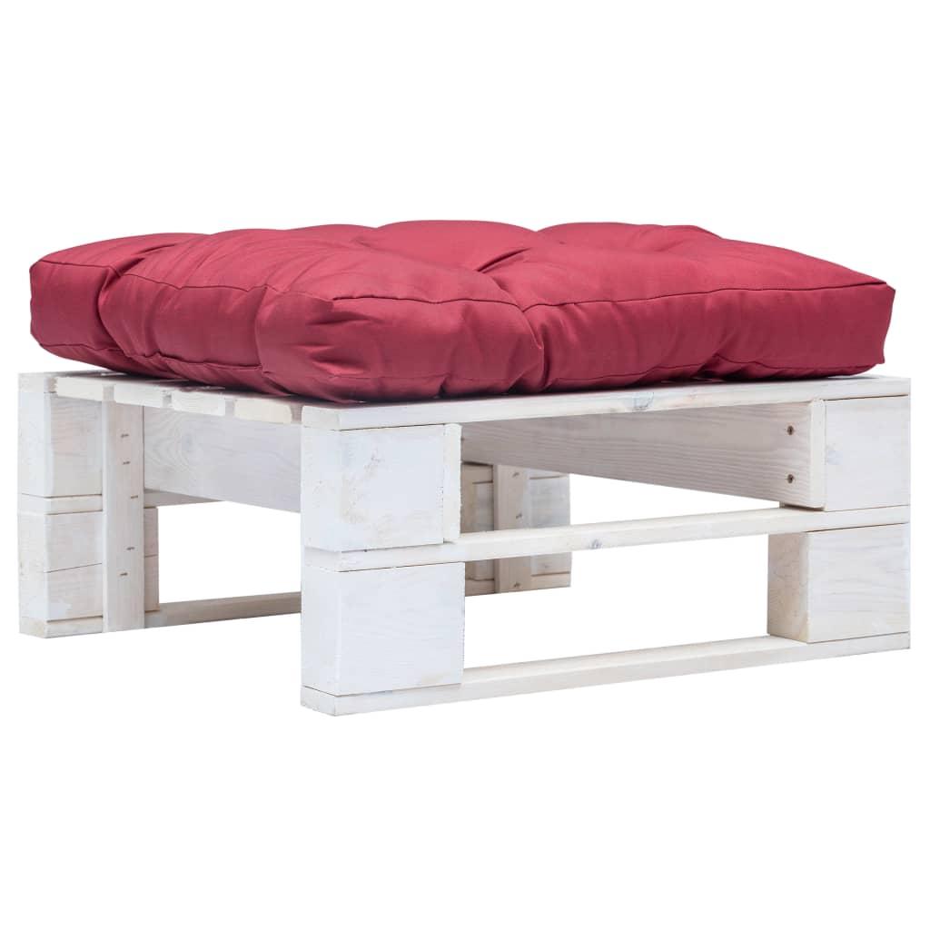 vidaXL Zahradní taburet z palet s červenou poduškou bílý dřevo