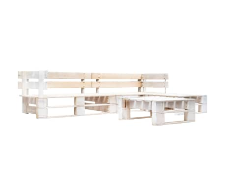 vidaXL 4 Piece Garden Pallet Lounge Set Wood White
