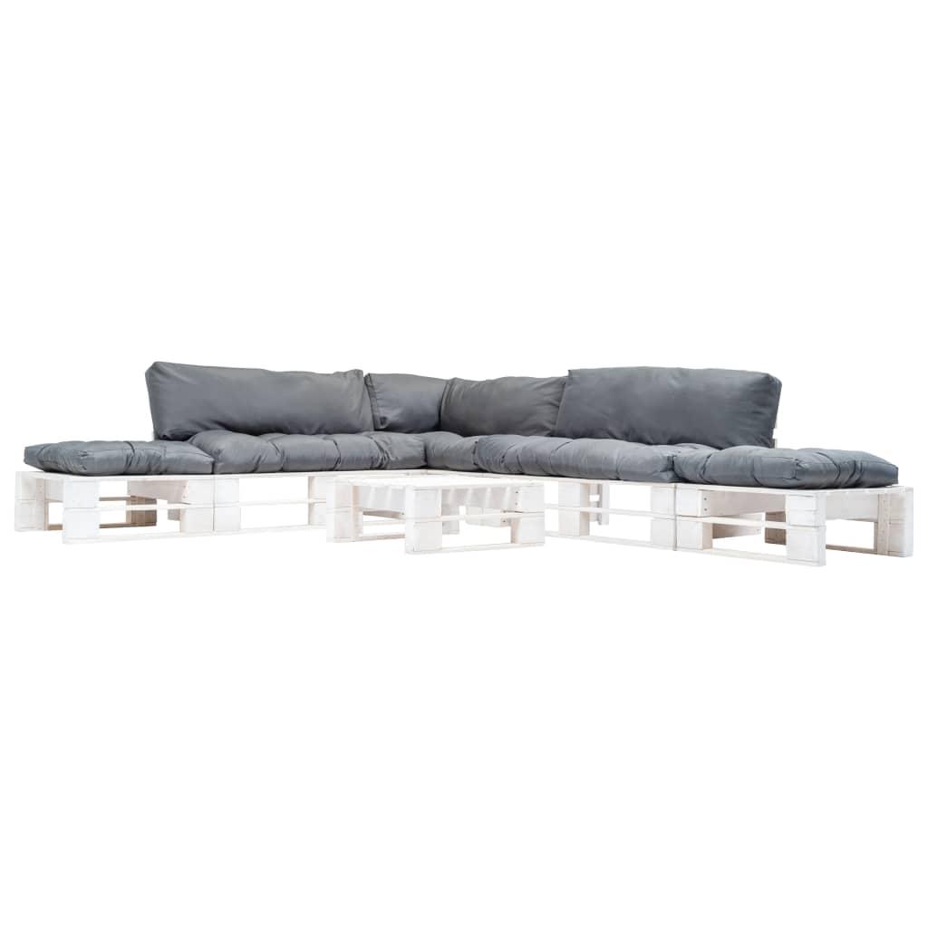 vidaXL 6-częściowy zestaw mebli z palet, szare poduszki, drewno FSC