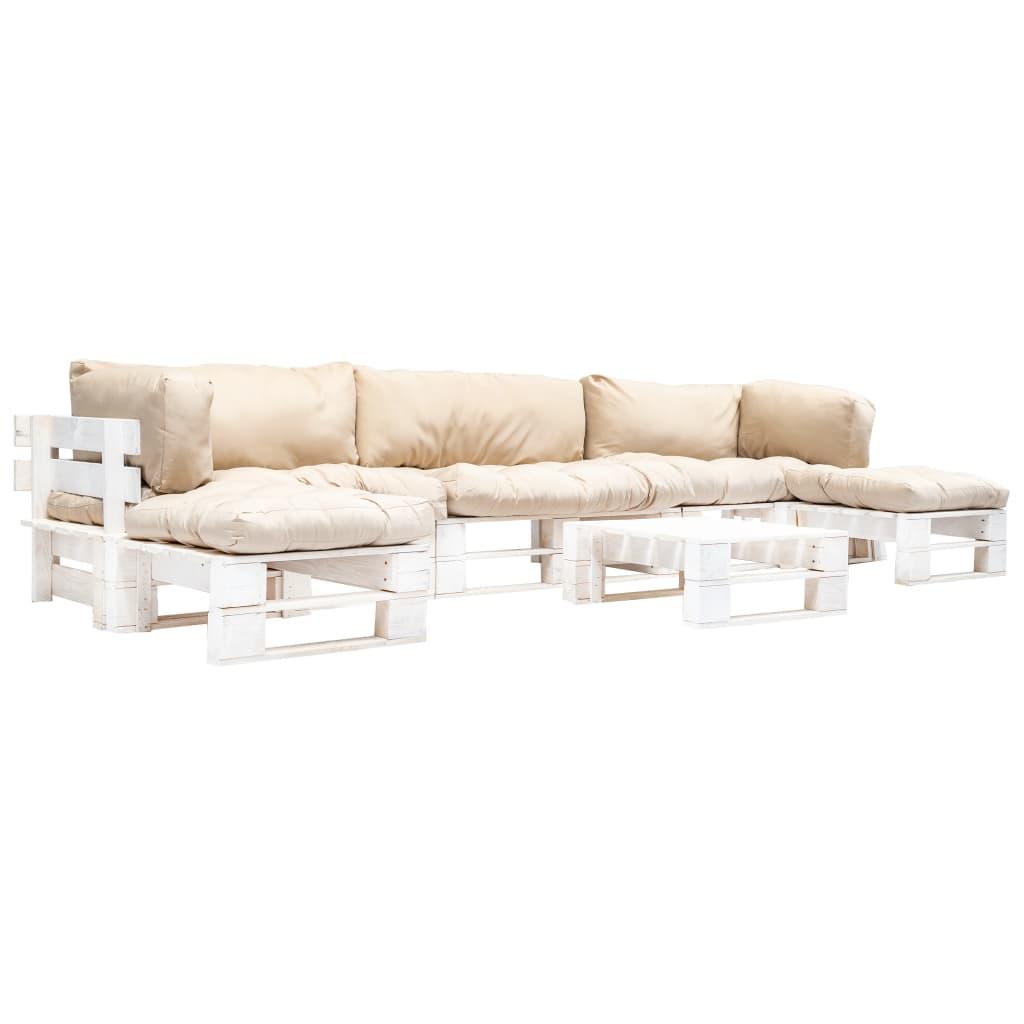 vidaXL 6-częściowy zestaw mebli z palet, piaskowe poduszki, drewno FSC