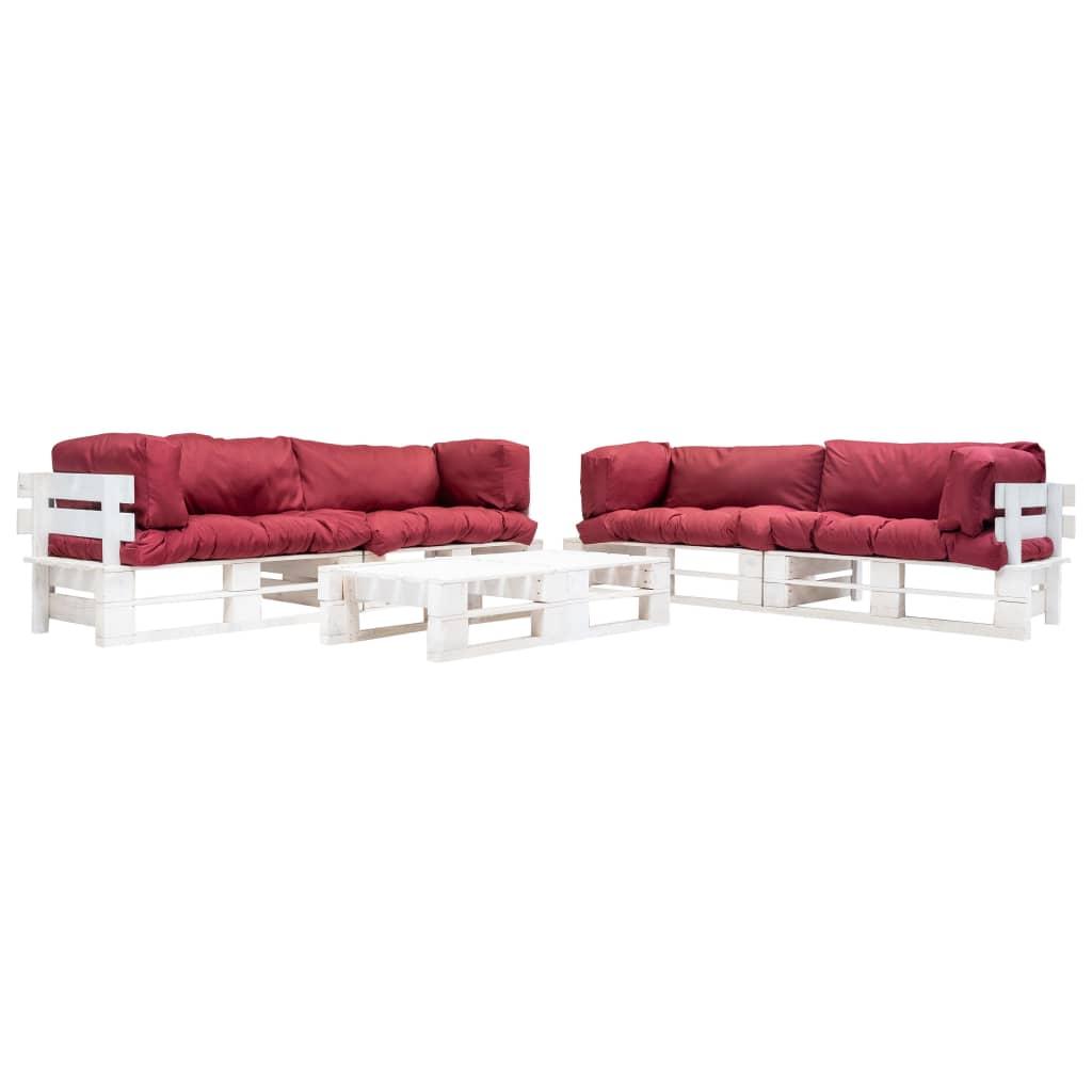 vidaXL 6-cz. zestaw ogrodowy, palety z drewna FSC, czerwone poduszki