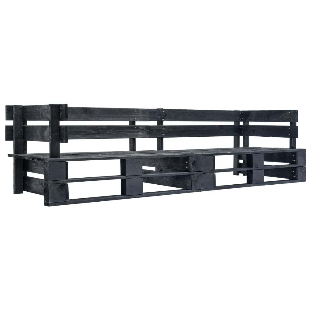 vidaXL Tuinbank 2-zits pallet FSC hout zwart