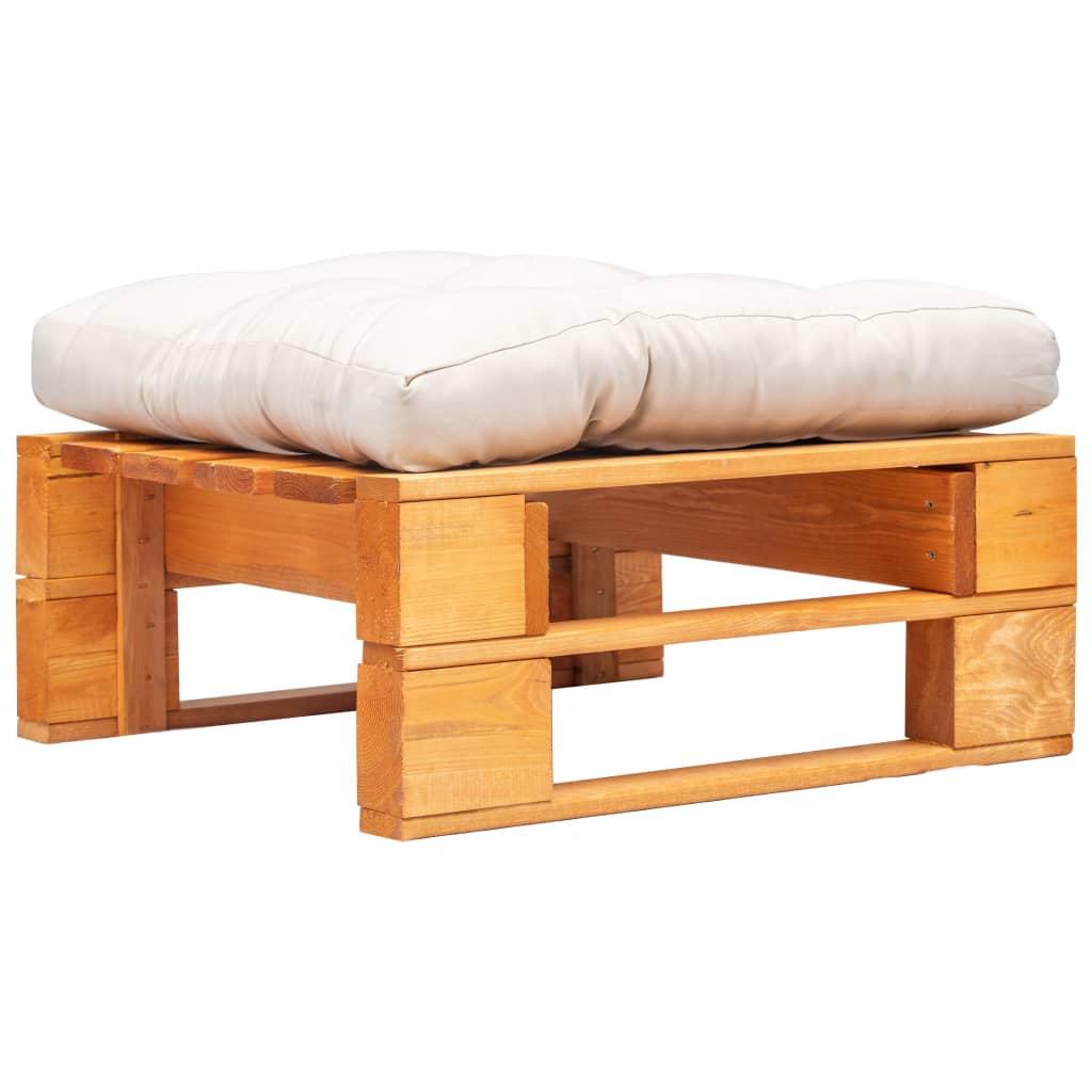 vidaXL Zahradní taburet z palet písková poduška medově hnědé dřevo