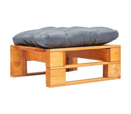 vidaXL Tuinpoef met grijs kussen pallet hout honingbruin