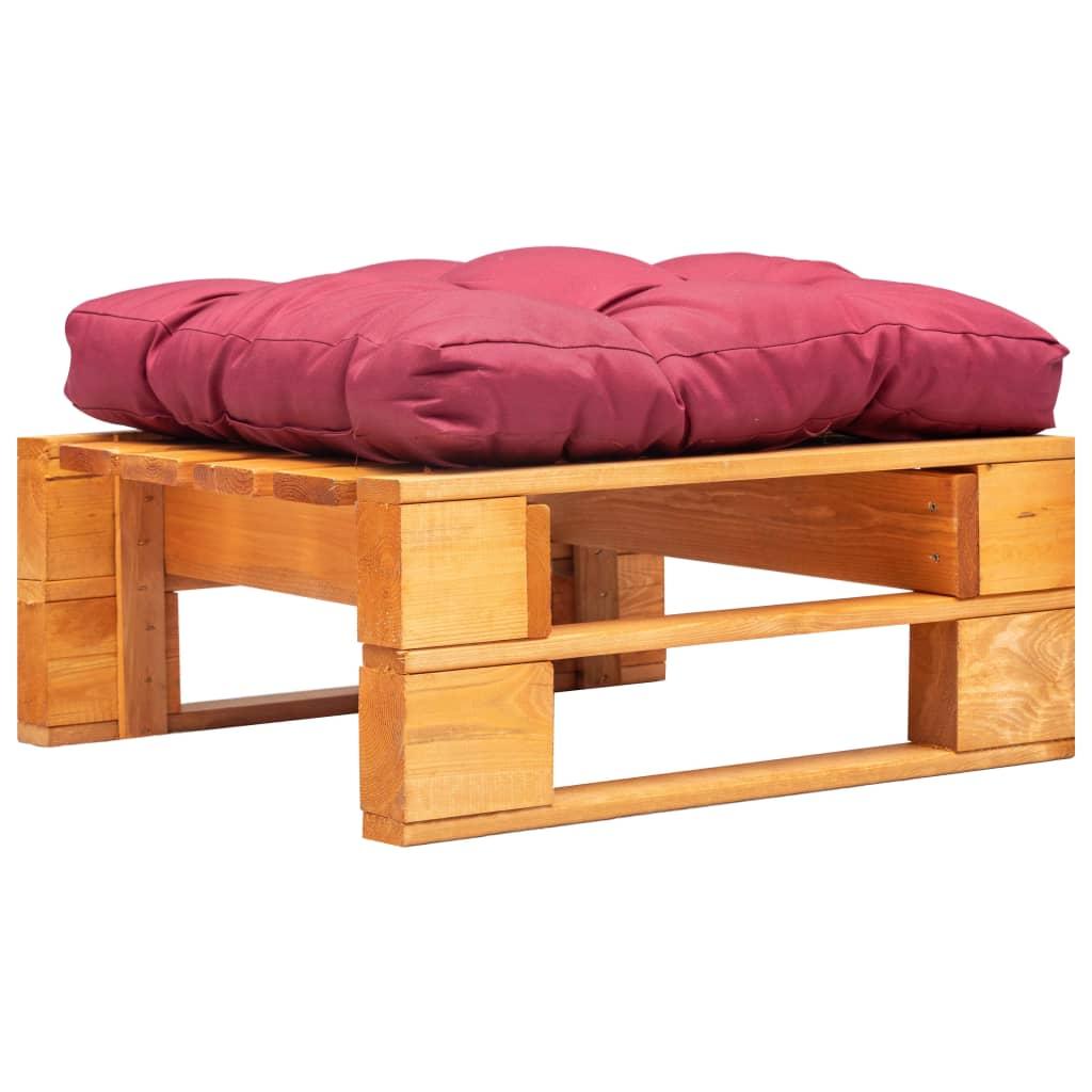 vidaXL Taburet de grădină paleți cu pernă roșie, maro miere, lemn poza 2021 vidaXL