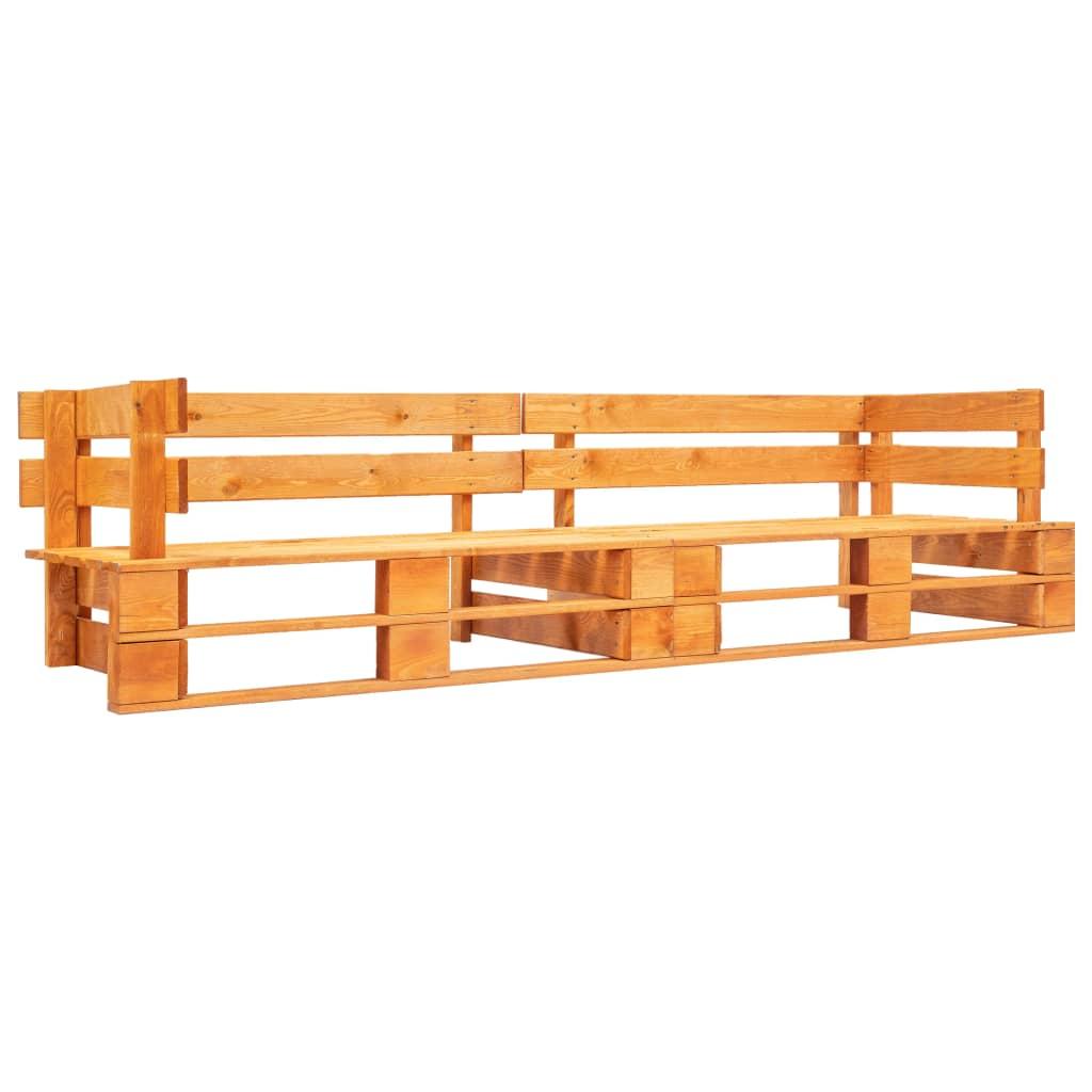 vidaXL Canapea de grădină cu 2 locuri din paleți, maro miere, lemn vidaxl.ro