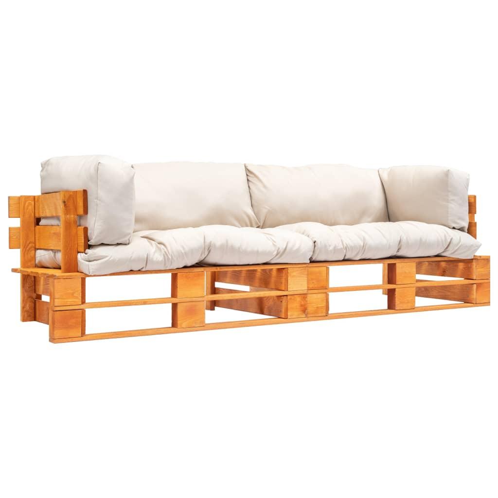 vidaXL Set canapea de grădină paleți cu perne nisipii 2 piese lemn pin poza 2021 vidaXL