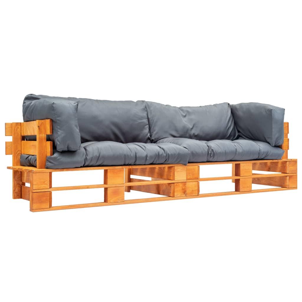 vidaXL Set canapea grădină paleți cu perne gri, 2 piese, lemn de pin vidaxl.ro