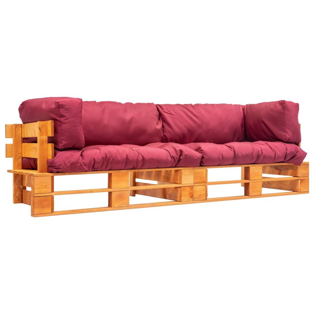 vidaXL Set canapea grădină paleți cu perne roșii, 2 piese, lemn de pin imagine vidaxl.ro