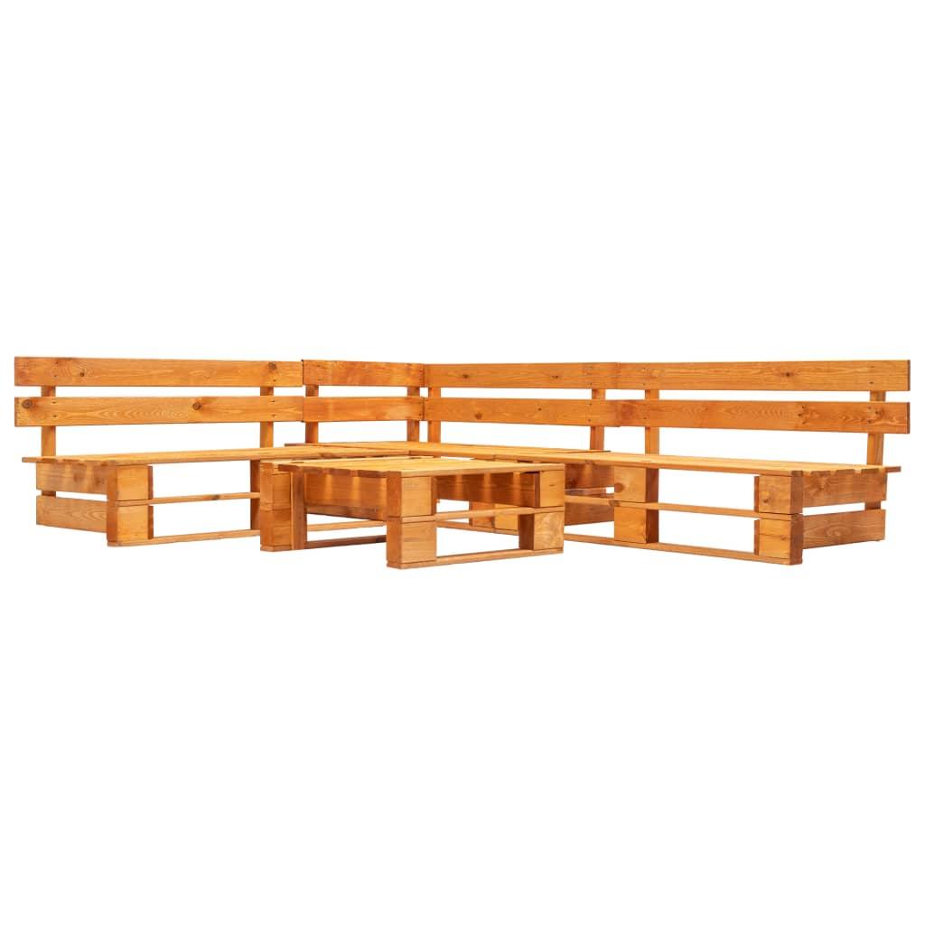 vidaXL 4-cz. zestaw ogrodowy, palety z drewna FSC, miodowy brąz
