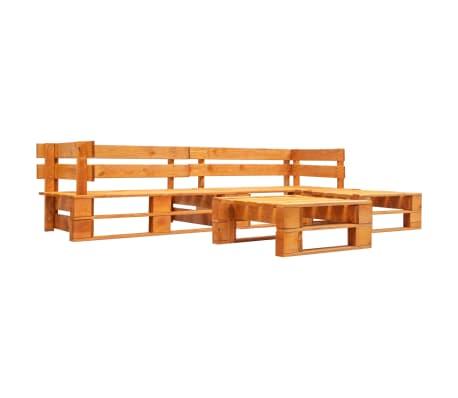 vidaXL 4-delige Loungeset pallet hout honingbruin