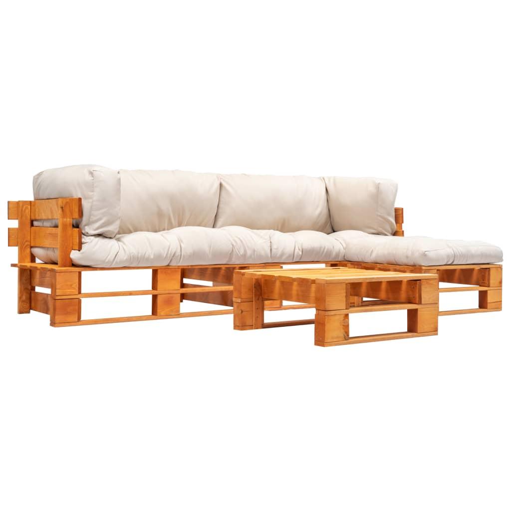 4-tlg. Garten-Paletten-Sofagarnitur Sandfarbige Kissen Holz