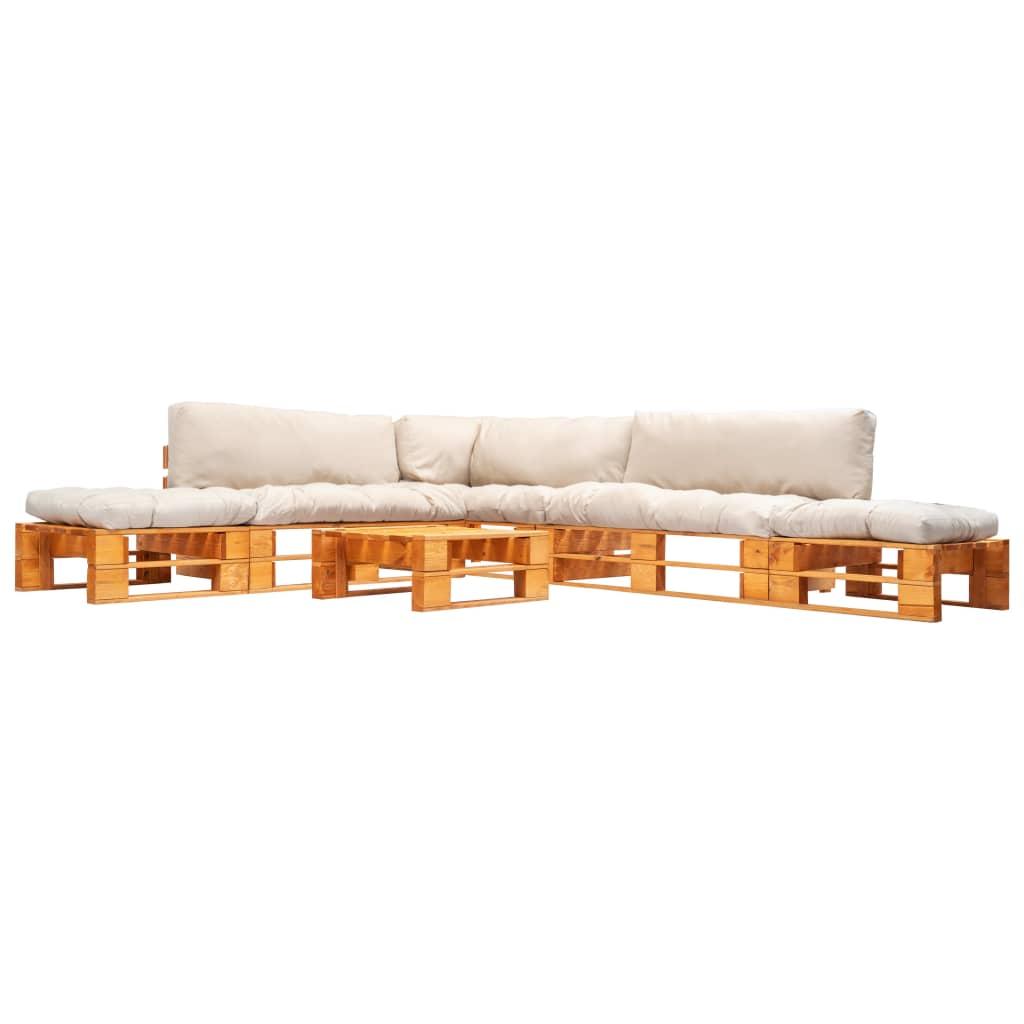 vidaXL 6-cz. zestaw ogrodowy, piaskowe poduszki, palety z drewna FSC