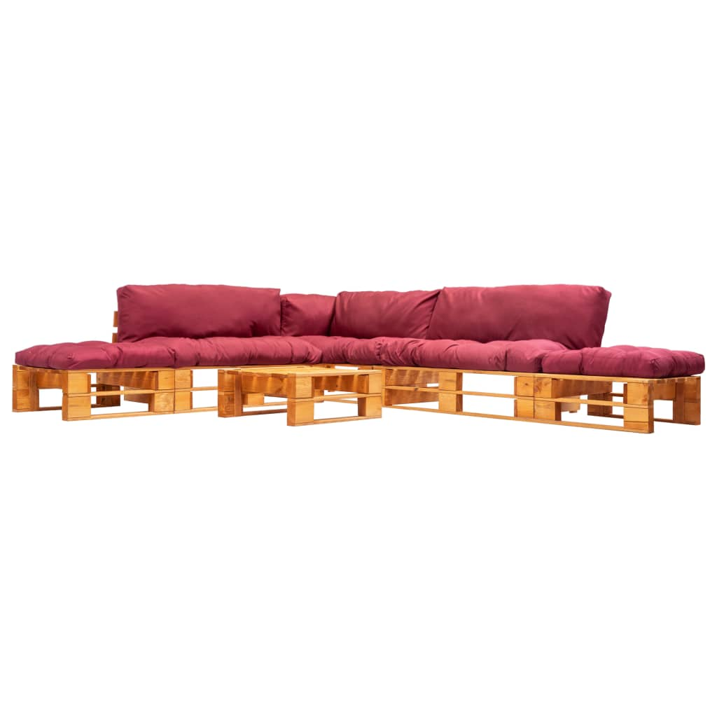 vidaXL 6-cz. zestaw ogrodowy, czerwone poduszki, palety z drewna FSC