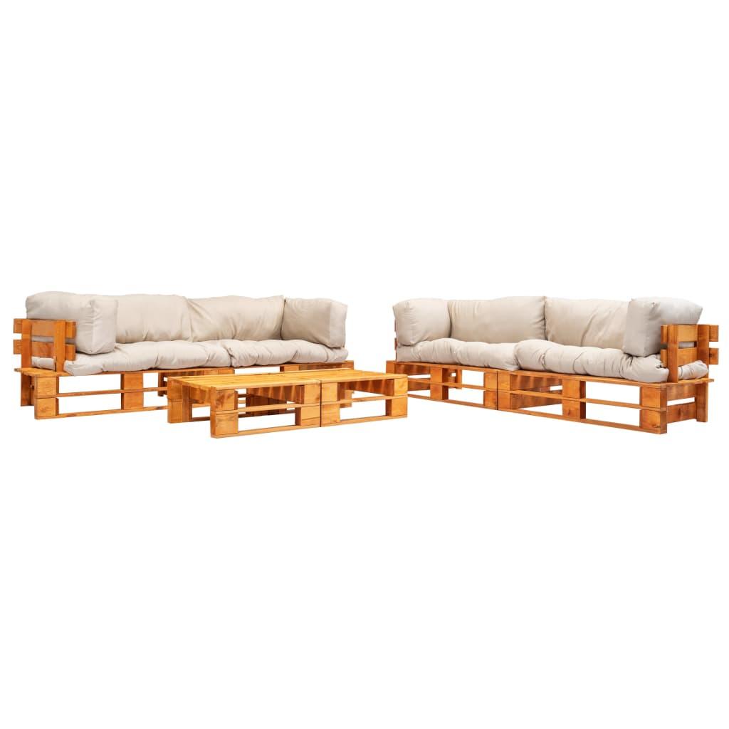 vidaXL 6-cz. zestaw ogrodowy, palety z drewna FSC, piaskowe poduszki