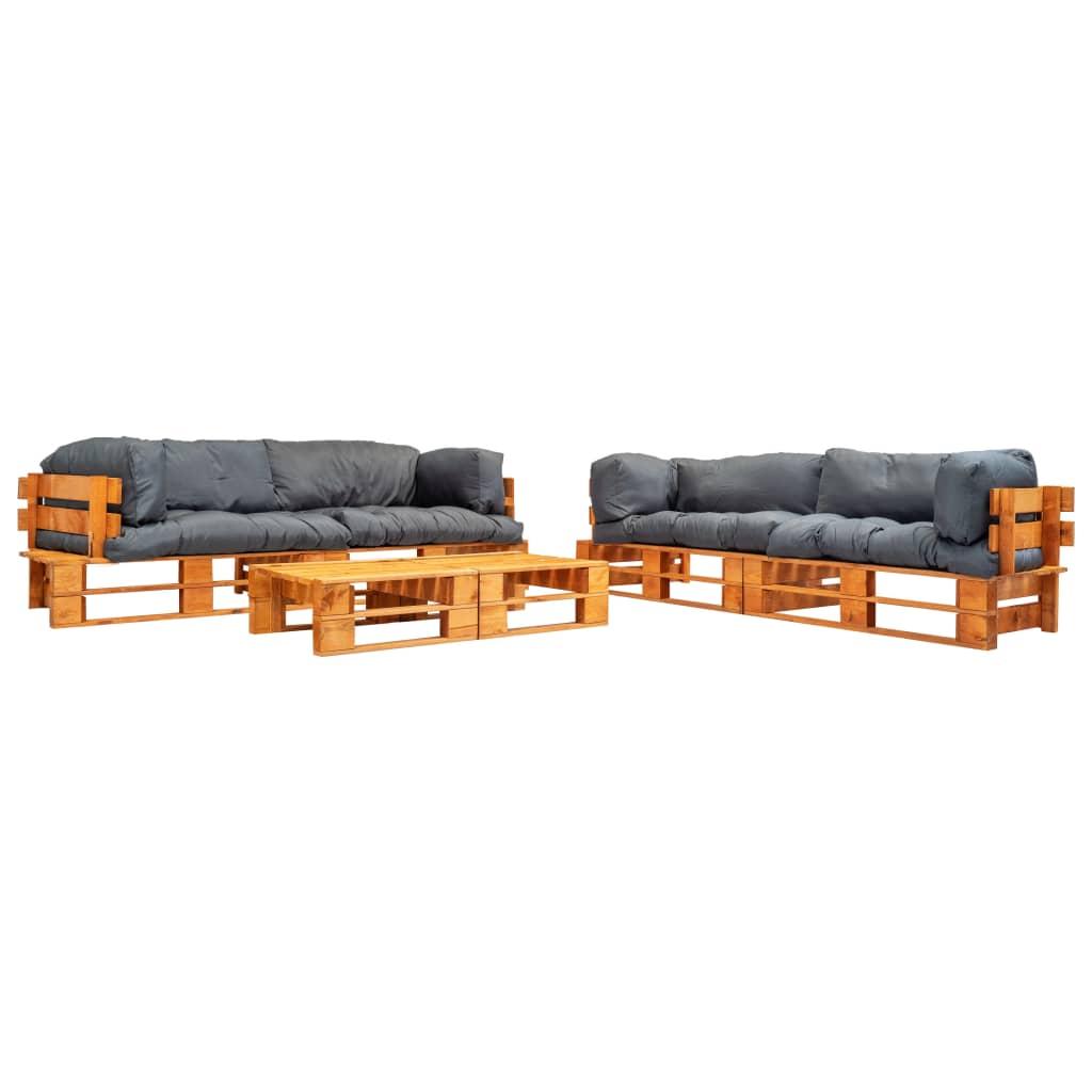 vidaXL 6-cz. zestaw ogrodowy, palety z drewna FSC, szare poduszki