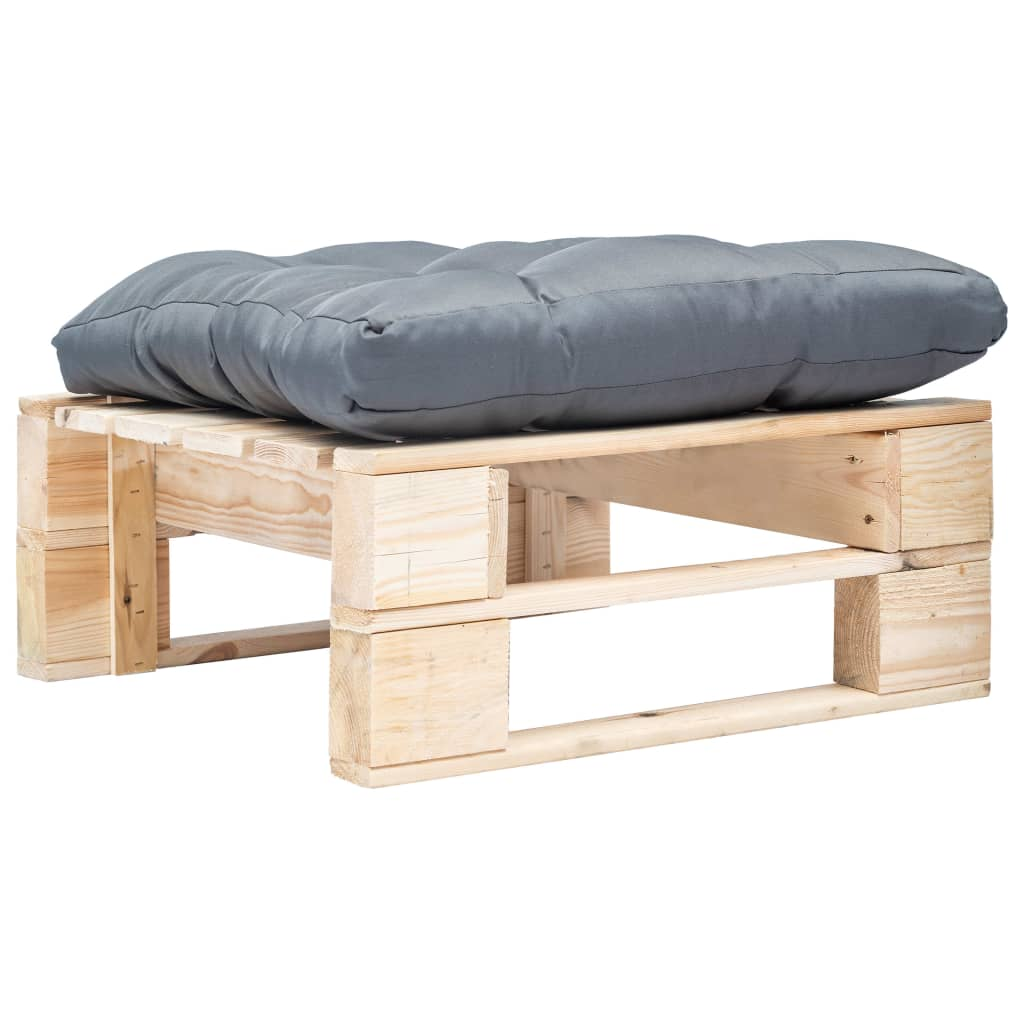 vidaXL Taburet de grădină din paleți cu pernă gri, natural, lemn poza 2021 vidaXL