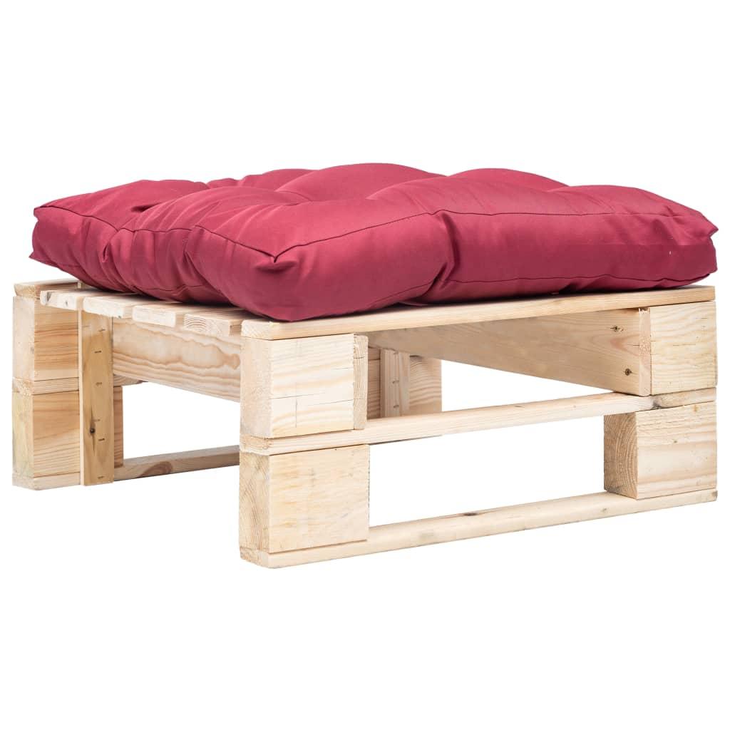 vidaXL Taburet de grădină din paleți cu pernă roșie, natural, lemn poza 2021 vidaXL