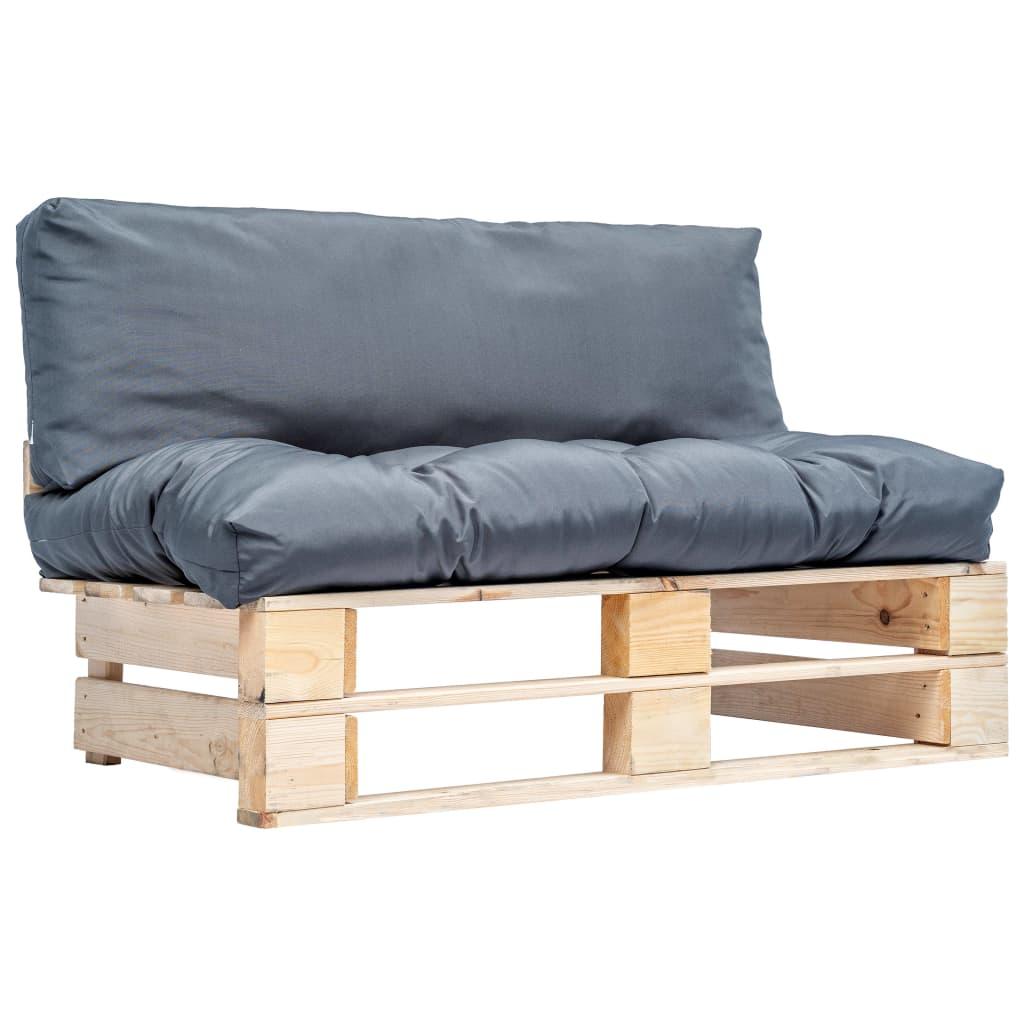 vidaXL Canapea de grădină din paleți cu perne gri, lemn de pin poza vidaxl.ro