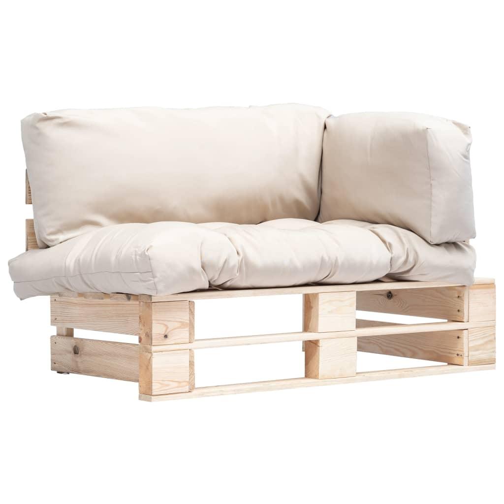 vidaXL Canapea de grădină din paleți cu perne nisipii, lemn de pin poza 2021 vidaXL