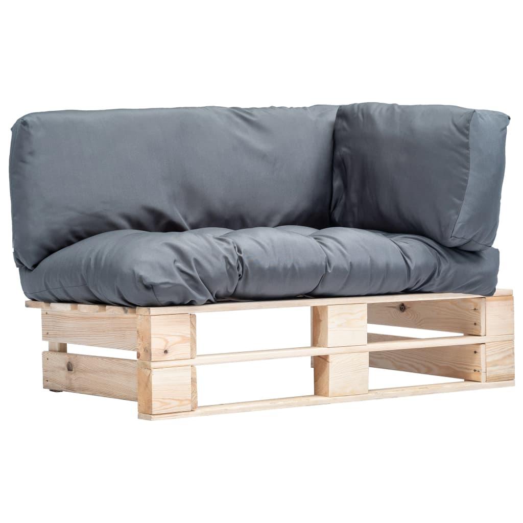 vidaXL Canapea de grădină din paleți cu perne gri, lemn de pin poza 2021 vidaXL