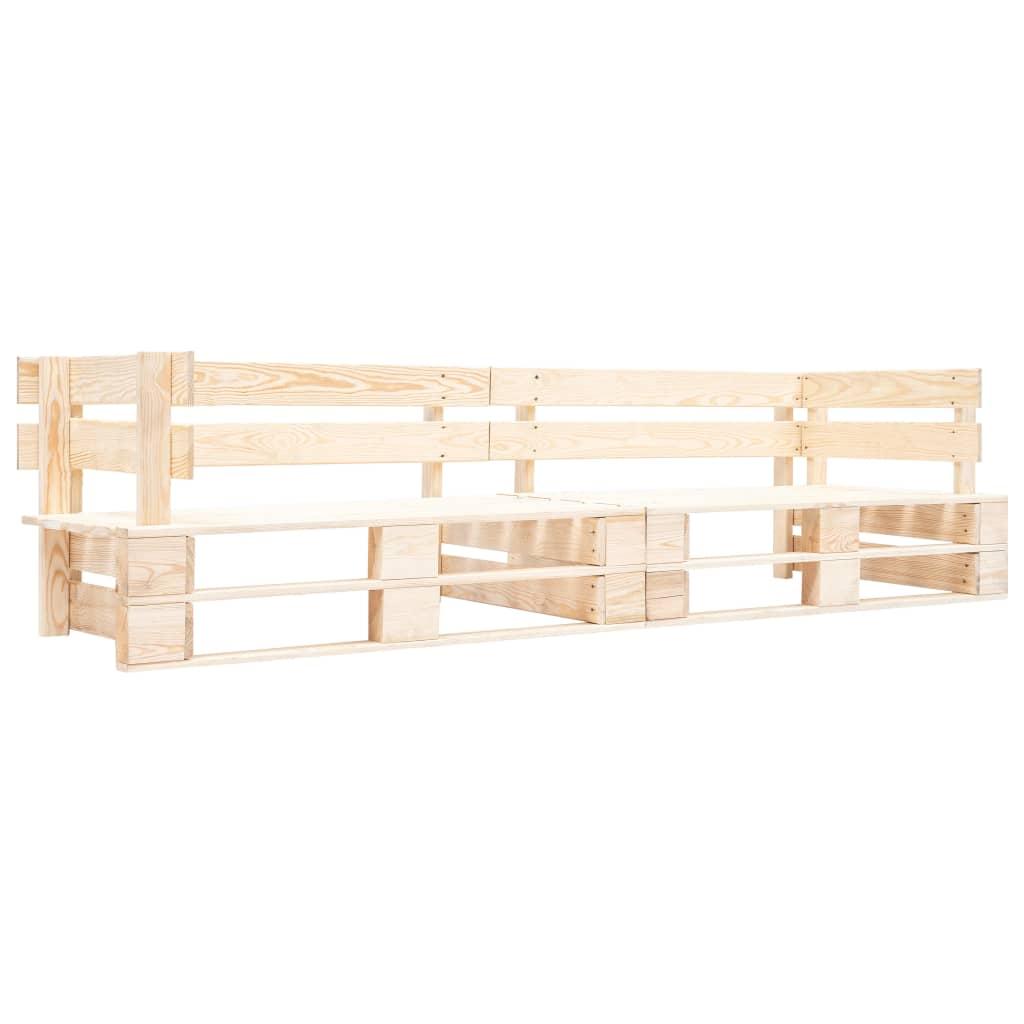 vidaXL Canapea de grădină cu 2 locuri din paleți, natural, lemn vidaxl.ro