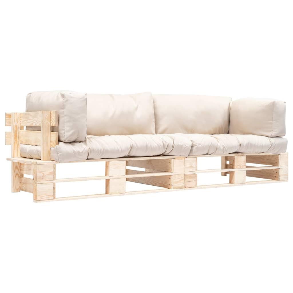 vidaXL Set canapea grădină paleți cu perne nisipii, 2 piese, lemn pin poza vidaxl.ro