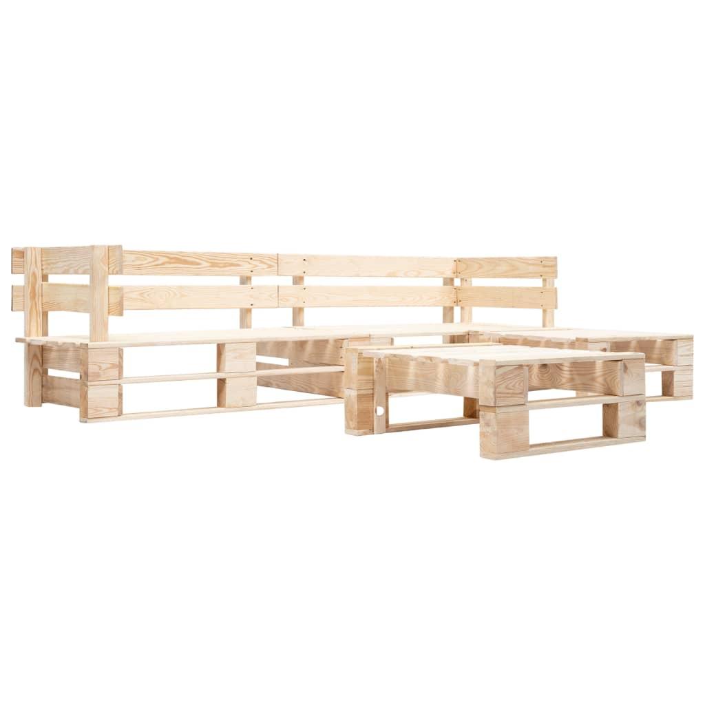 vidaXL 4-cz. zestaw ogrodowy, palety z drewna FSC, naturalny