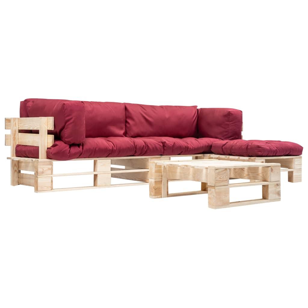 vidaXL Set mobilier de grădină paleți cu perne roșii, 4 piese, lemn imagine vidaxl.ro