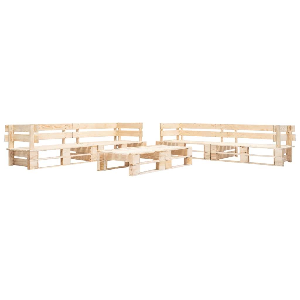 vidaXL Set mobilier de grădină din paleți, 6 piese, natural, lemn imagine vidaxl.ro