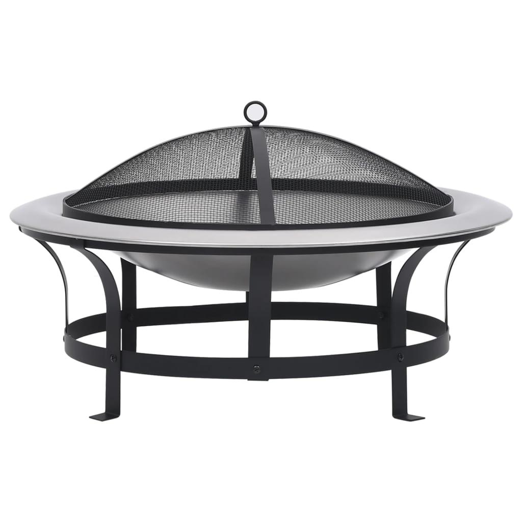 vidaXL Vatră de foc de exterior cu grătar, 76 cm, oțel inoxidabil poza 2021 vidaXL