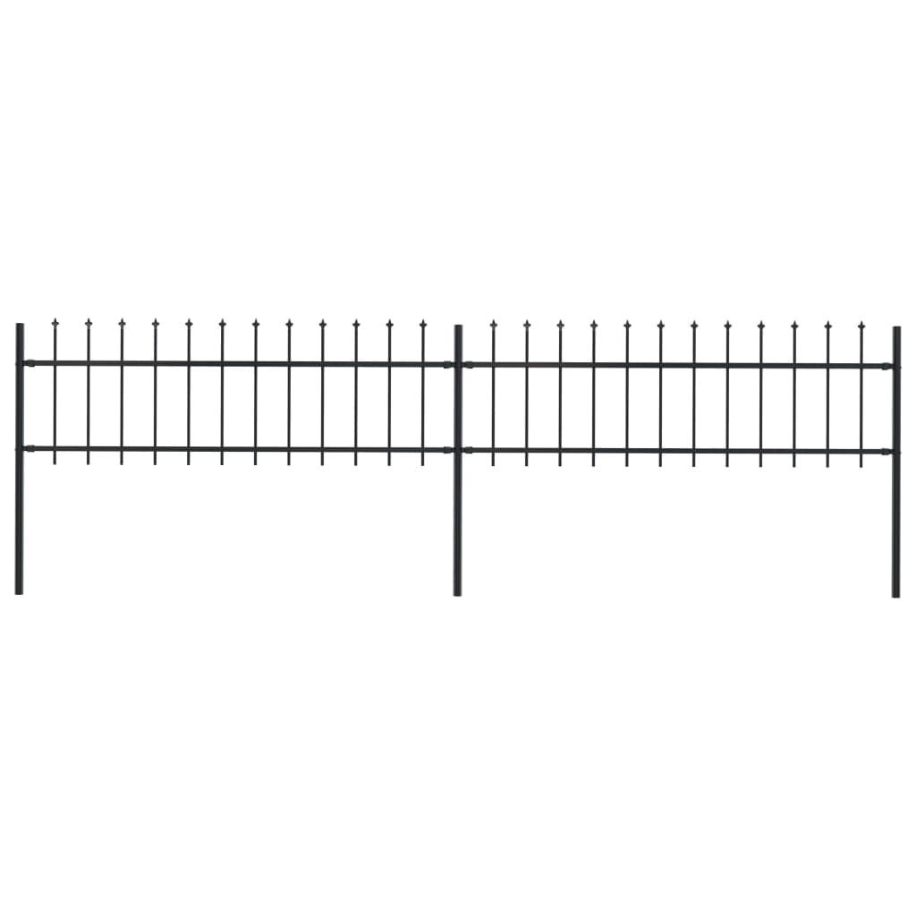 vidaXL Gard de grădină cu vârf suliță, negru, 3,4 x 0,6 m, oțel poza vidaxl.ro