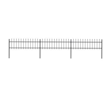 vidaXL Trädgårdsstaket med spjuttopp stål 5,1x0,6 m svart