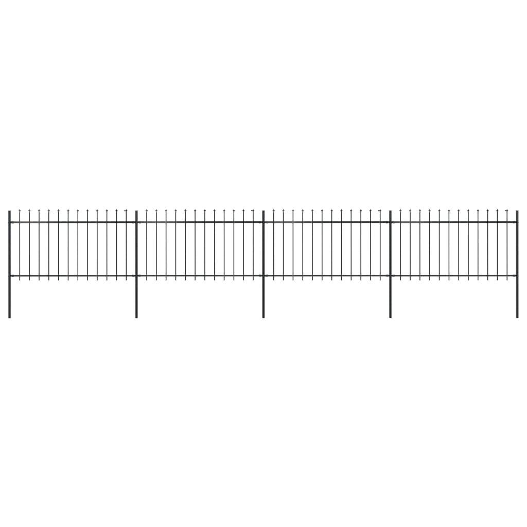 vidaXL Gard de grădină cu vârf suliță, negru, 6,8 x 1 m, oțel poza vidaxl.ro