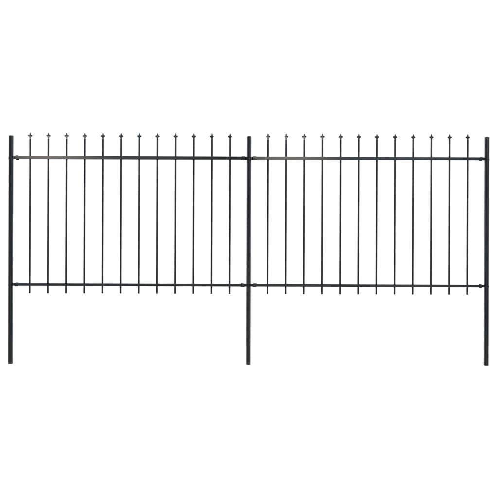 vidaXL Gard de grădină cu vârf suliță, negru, 3,4 x 1,2 m, oțel vidaxl.ro