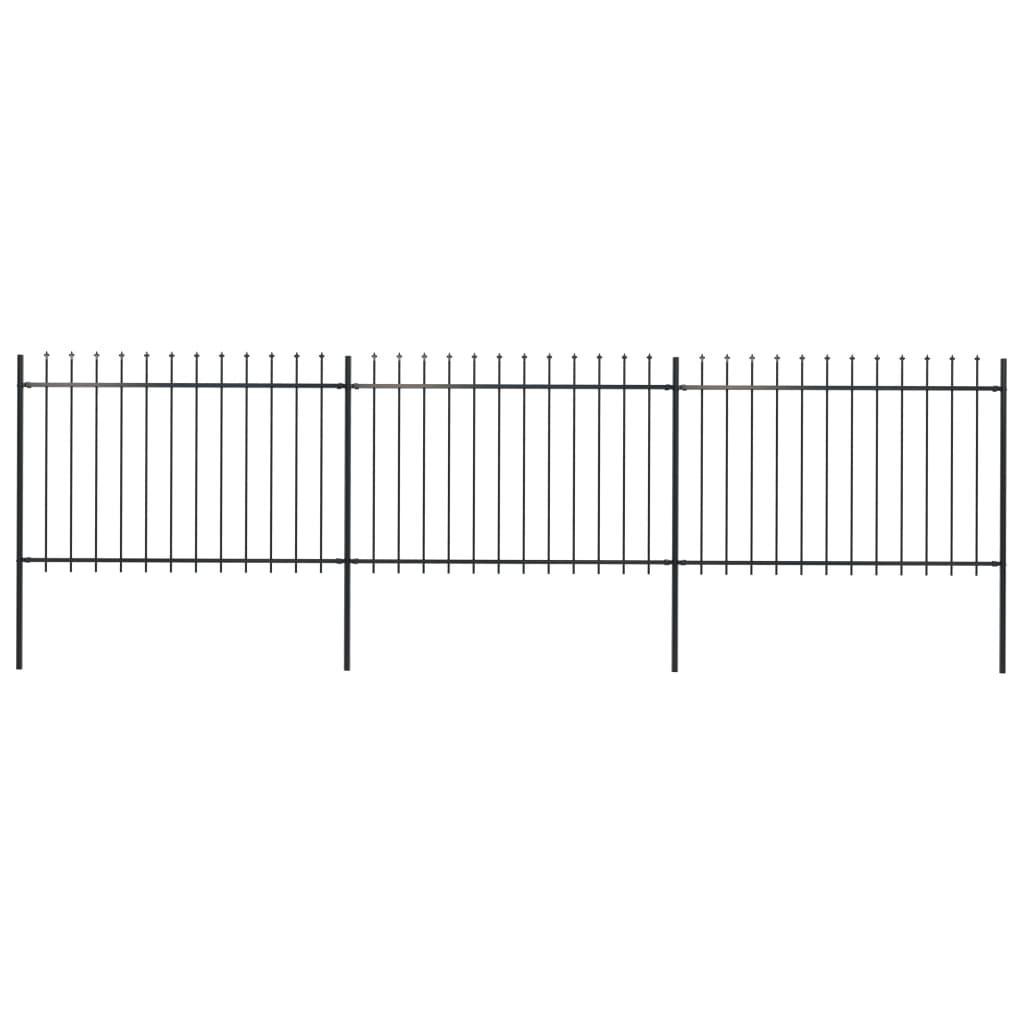 vidaXL Gard de grădină cu vârf suliță, negru, 5,1 x 1,2 m, oțel vidaxl.ro