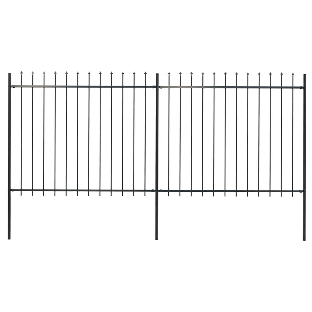 vidaXL Gard de grădină cu vârf suliță, negru, 3,4 x 1,5 m, oțel imagine vidaxl.ro