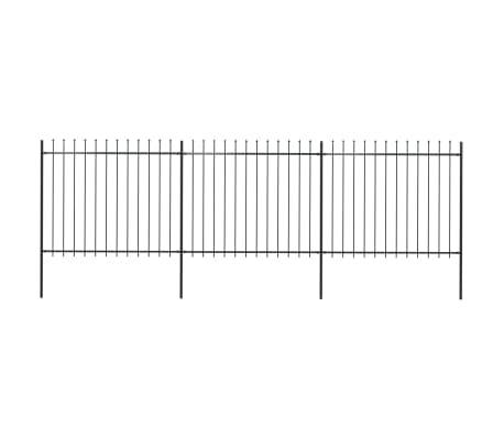vidaXL Garden Fence with Spear Top Steel 5.1x1.5 m Black