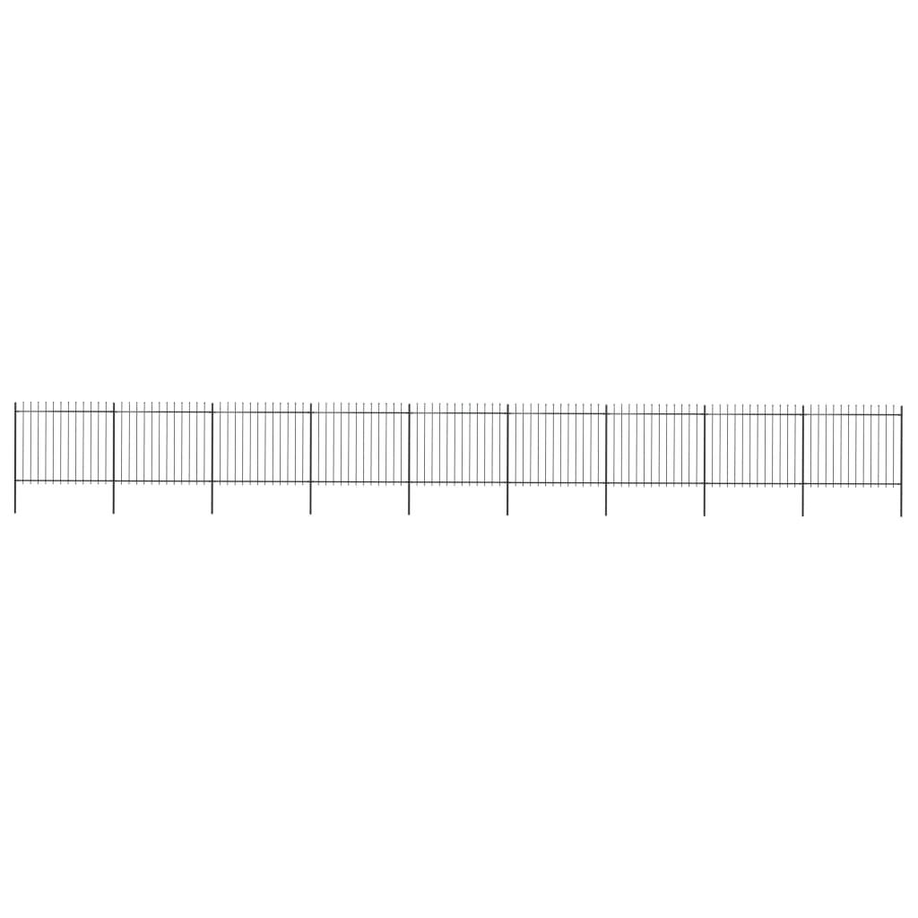 vidaXL Gard de grădină cu vârf suliță, negru, 15,3 x 1,5 m, oțel vidaxl.ro