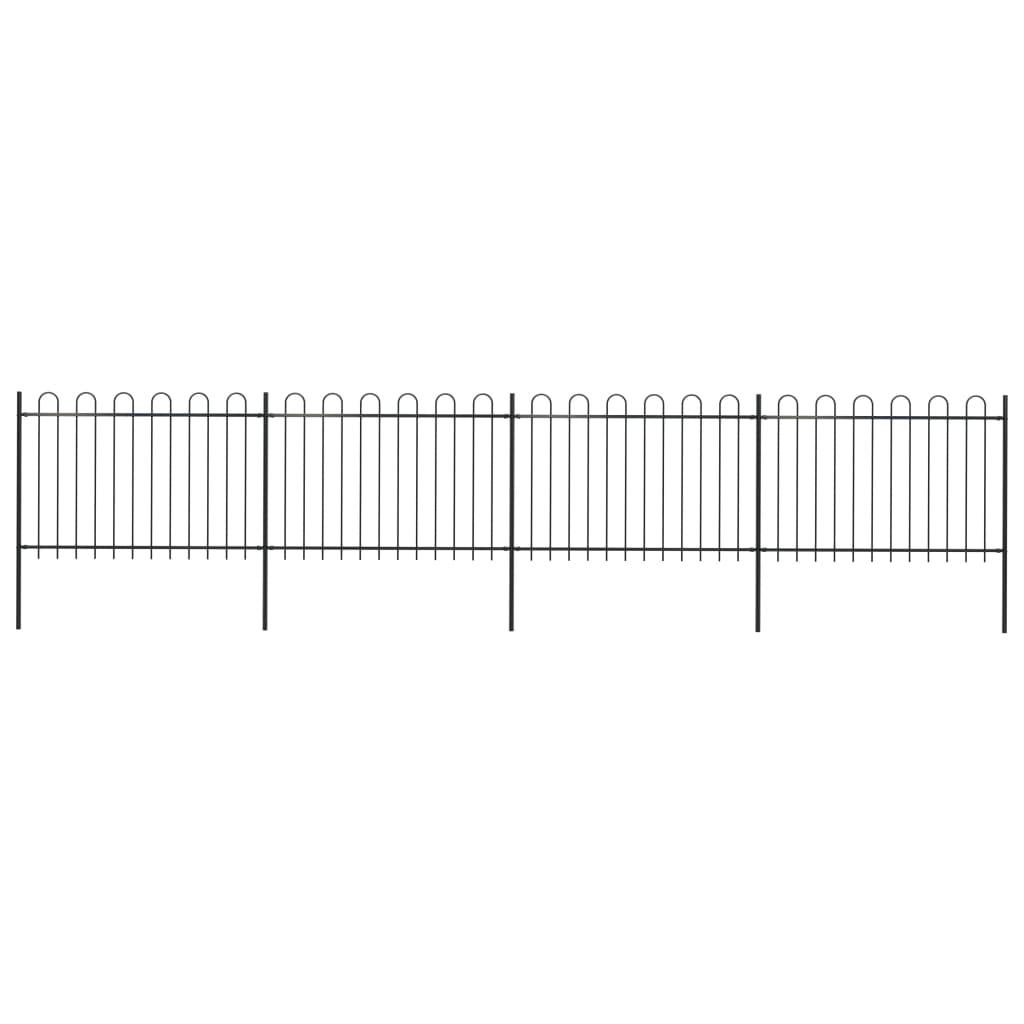 vidaXL Gard de grădină cu vârf curbat, negru, 6,8 x 1,2 m, oțel poza vidaxl.ro