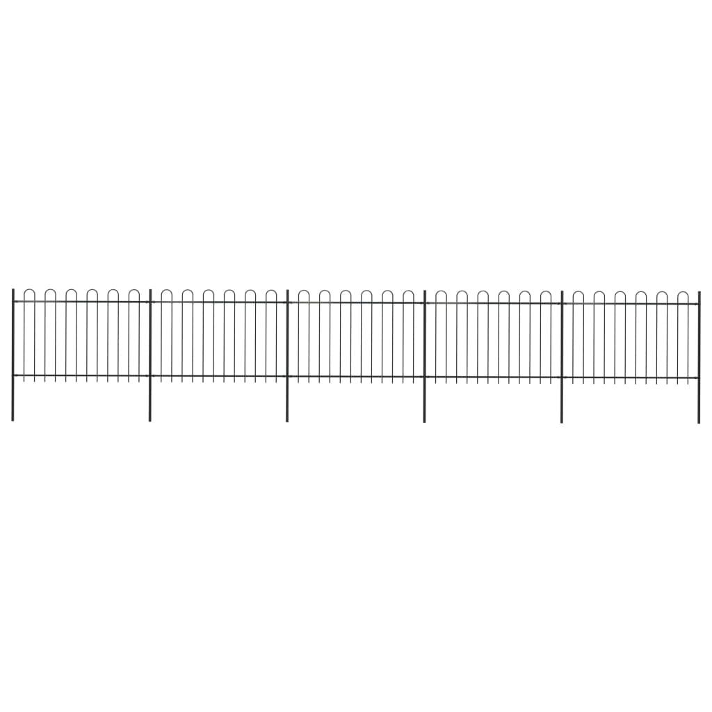 vidaXL Gard de grădină cu vârf curbat, negru, 8,5 x 1,2 m, oțel imagine vidaxl.ro